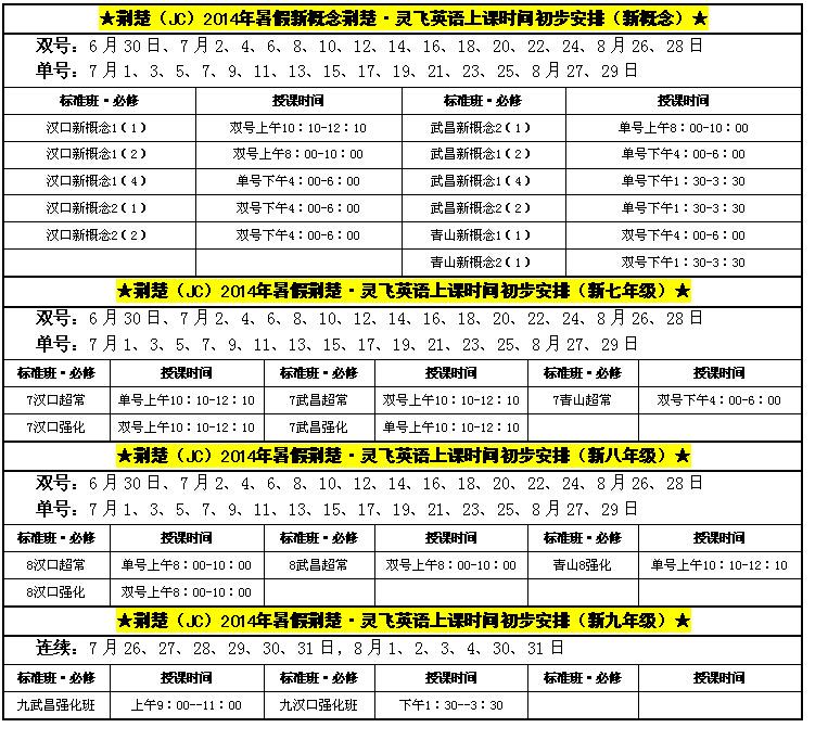 荆楚(jc)2014年暑假灵飞英语授课时间安排表(初步)